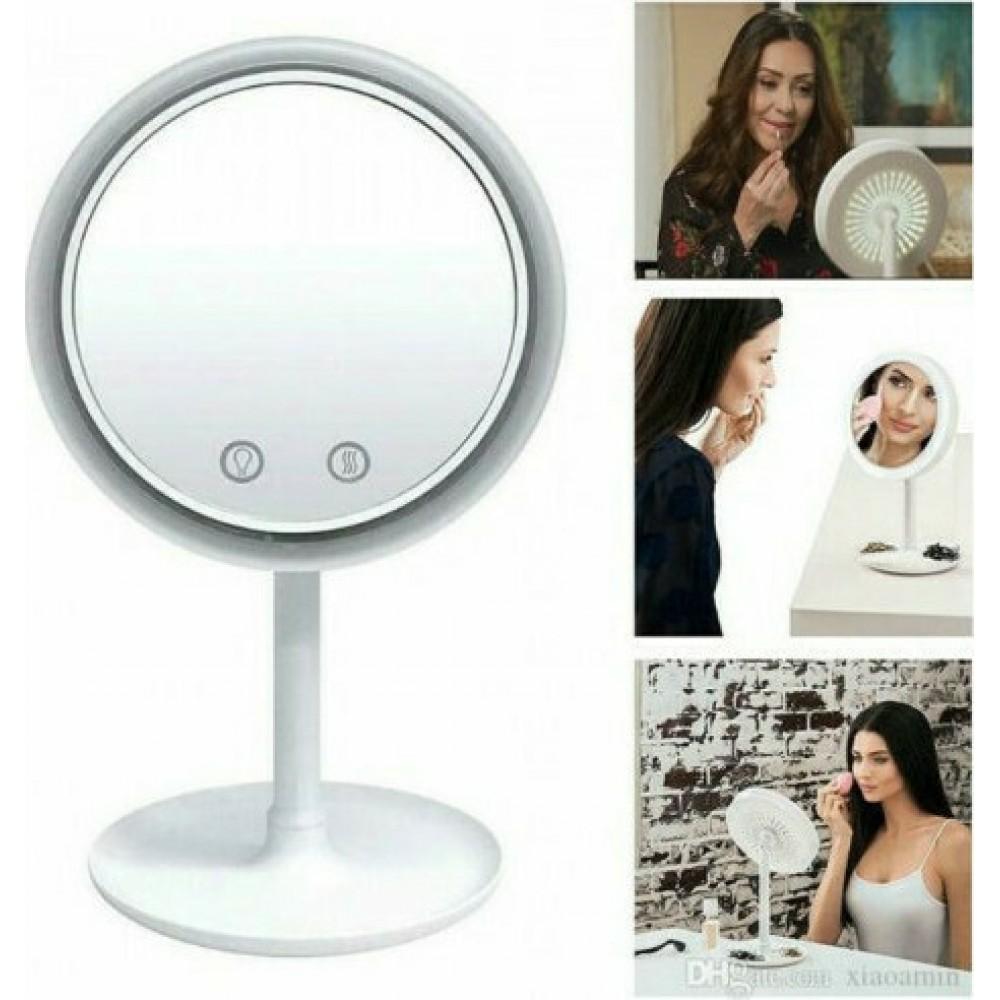 Στρογγυλός LED Καθρέφτης Ανεμιστήρας για Μακιγιάζ με Μεγέθυνση 5X - Mirror with Fan and Light - C1176