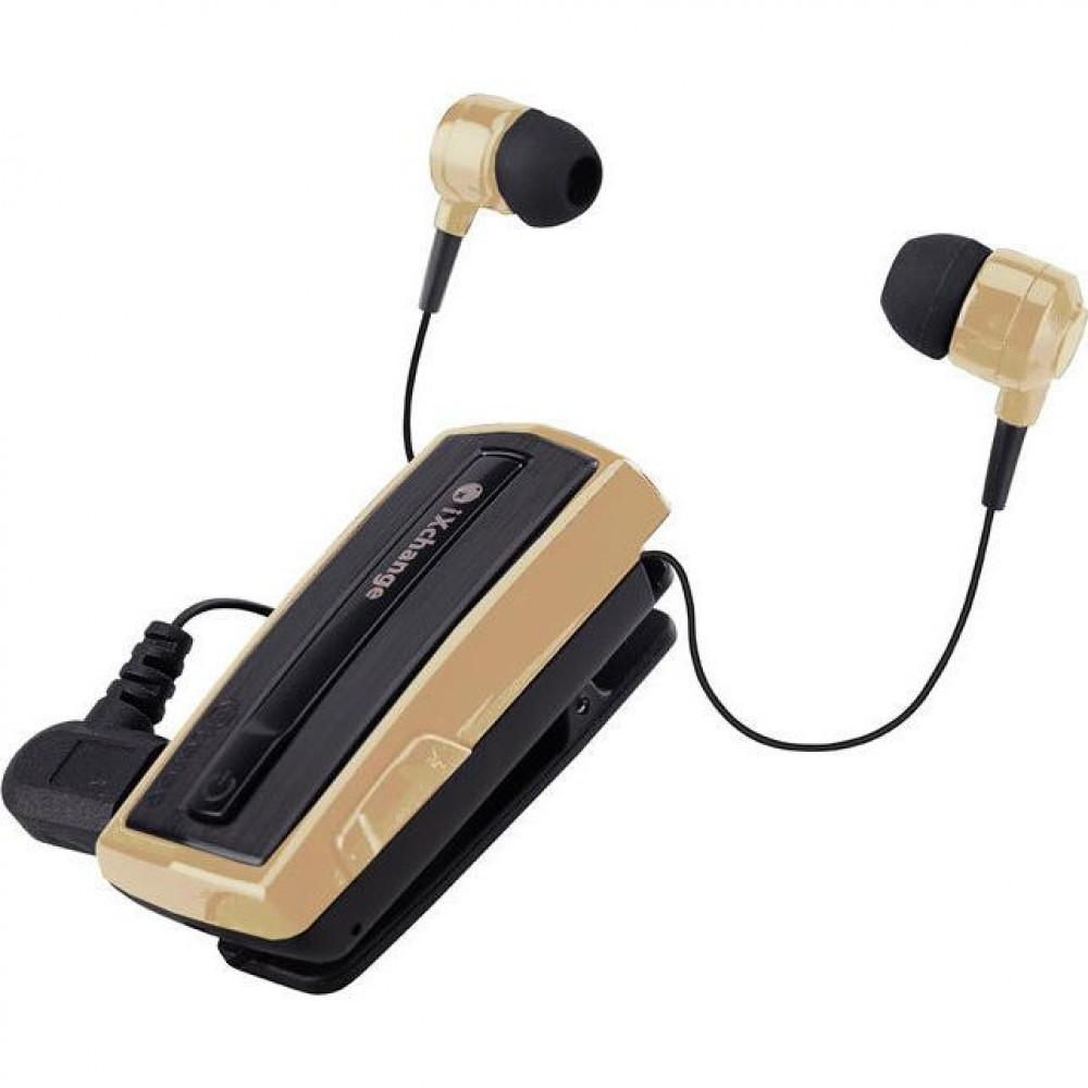 Retractable BT Headset w vibrator UA28 Gold iXchange
