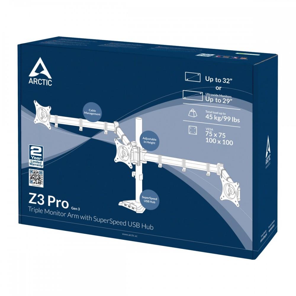 Arctic Z3 Pro Gen 3 (Matt black) Triple-Monitor Arm 4 ports USB 3.0 hub